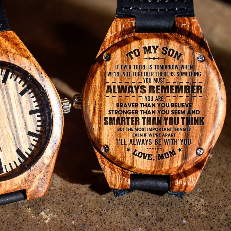 18e9b5abbbb To My Son - Always Remember Your Smarter Engraved Wooden Watch, Wood Gifts,  Custom Birthday Graduation Gift for Son from Mom Mother