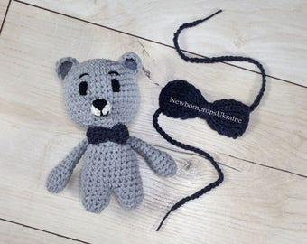 Baby bear outfit Newborn boy bow tie Newborn photo prop Newborn toy prop Newborn Bow tie Baby tie Crochet teddy bear Amigurumi bear Bear toy