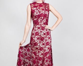169c6c438f Stunning 1930s 30s Vintage Deep Red Silk Lace Gown Dress Art Deco Style  Sweeping Skirt Wedding Evening