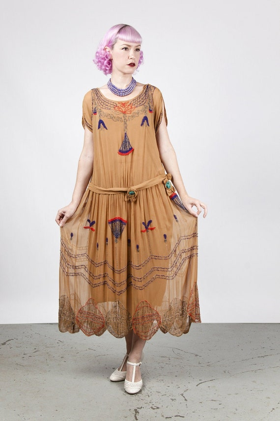 1920s Egyptian Revival Golden Brown Silk Georgette