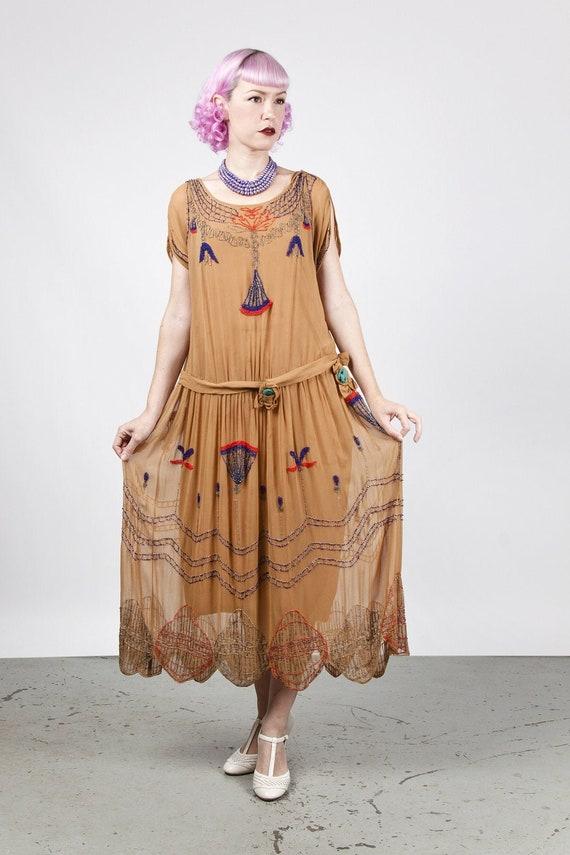 1920s Egyptian Revival Golden Brown Silk Georgette