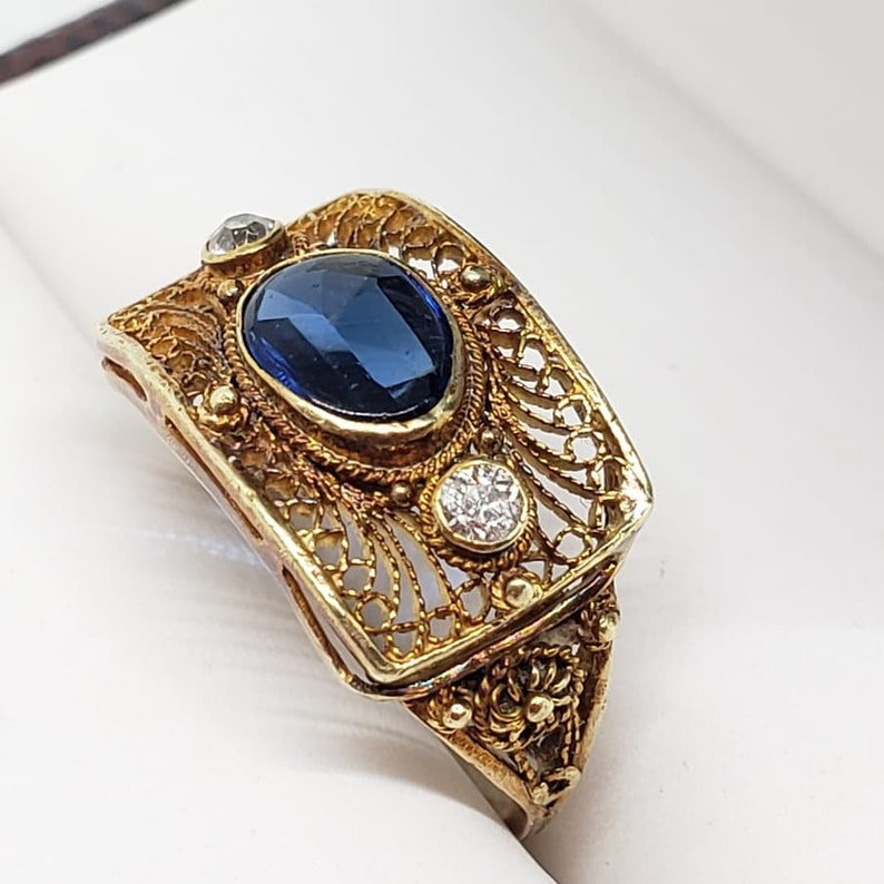 Intricate Antique Edwardian 14K Filigree Ring with Genuine Diamonds and Synthetic Sapphire US Size 4 12