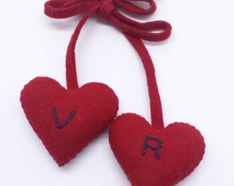 Charming 1940s WWII Sweetheart Jewelry Dangling Red Wool Felt Puffy Hearts Hand Made Initials V and R Large Size 3 Dimensional