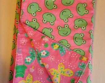 Butterfly / frog flannel receiving blanket