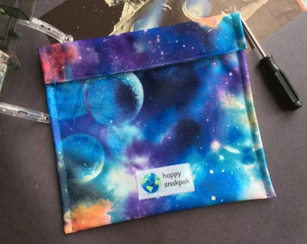 Reuseable Snack Bag, Eco-Friendly, Single Layer, Easy Care, Kid Friendly, Three Sizes, Blue Galaxy Pattern