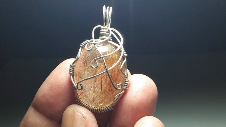 wire wrapped pendant wire wrapped rutile quartz pendant wire jewelry red rutile quartz pendant with 925 sterling silver wire wrapped