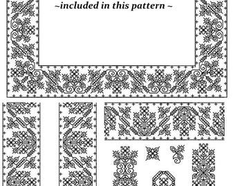 Trio of Oaks a Words and Whimsies counted blackwork PATTERN SET from Practical Blackwork