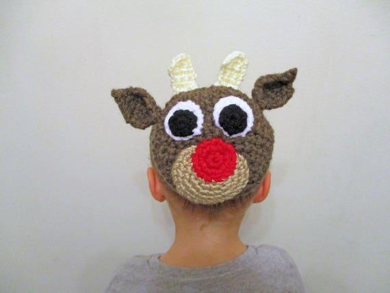 Red Nosed Reindeer Bun Cover Crochet Pattern Crochet Bun Etsy