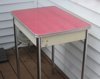 Ordinaire Small Red Formica Table,vintage Formica Table,red And Chrome Table,apartment  Table,patio Table,cottage Table,formica And Chrome Red Table