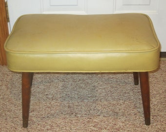 Rapture Pouffe Footrest Stool Leaf Gold Wood And Velvet Antiques