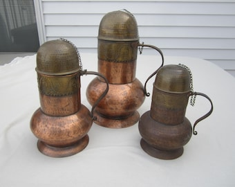 3 hammered copper urns,decorative copper,hammered copper vase,covered urn,pet urn,memorial urn,ornate copper decor,Spanish copper artisan