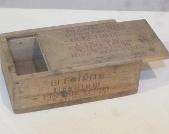 Latrobe Electric Steel Co,Electrite steel bit,industrial decor,vintage machine shop,slide lid dovetailed box,small crate,vintage advertising