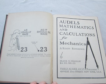 Vintage 1945 Math book,Audels Mathematics and Calculatoins for Mechanics,technical trade books,mechanical engineering,