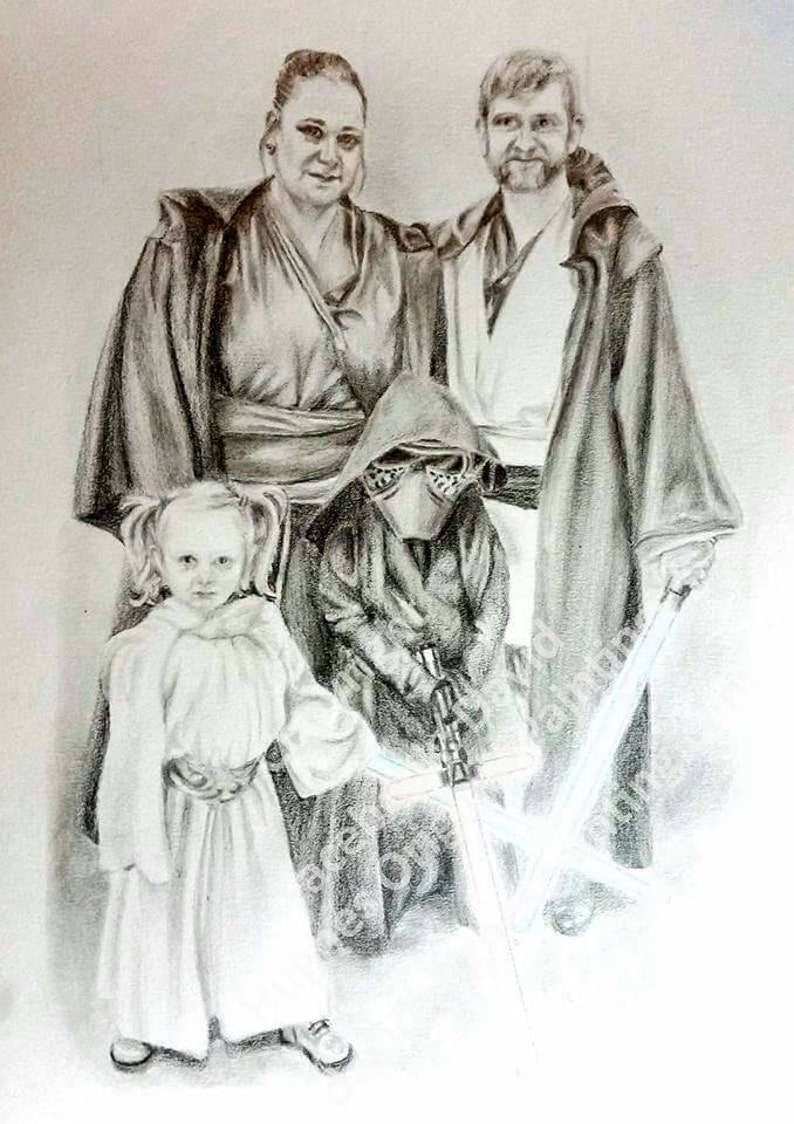 Custom made drawing family drawing family portrait pencil drawing drawing family drawing custom made art hand drawn