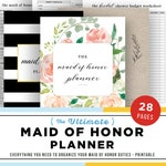 Maid of Honor Planner, Wedding Planner Printable, Maid of Honor Gift Ideas, Will You Be My Maid of Honor, PDF, DIY Notebook