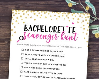 Bachelorette Scavenger Hunt, Printable Bachelorette Party Games, Photo Challenge Game, Hen Party, Hen's Night Fun Games, Instant Download,