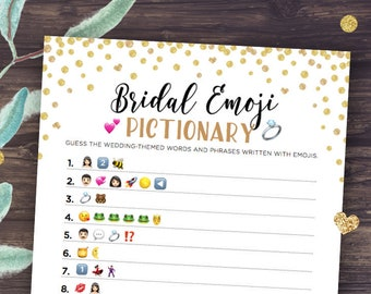 Bridal Emoji Pictionary Game, with Answers, Bridal Shower Games Printable, Gold Confetti, Instant Download, Digital DIY, Unique