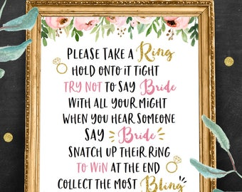 Don't Say Bride Bridal Shower Game, Wedding Shower Printable Games, Rustic Floral, Bachelorette Party Games, Pink Flowers