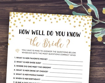 How Well Do You Know the Bride, Who Knows Bride Best Printable, Bridal Shower Game Instant Download, Wedding Shower, Digital, and Groom
