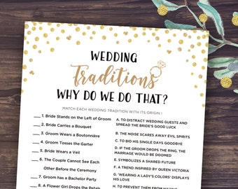 why do we do that game wedding traditions guessing game printable bridal shower trivia games instant download gold confetti mason jar