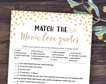 gold bridal shower games match the romantic movie love quotes game printable wedding shower games instant download confetti glitter diy