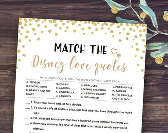 disney bridal shower match the love quotes bridal shower games printable instant download gold confetti and black design famous couple