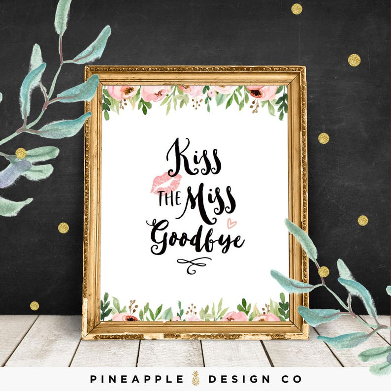graphic regarding Kiss the Miss Goodbye Printable named Kiss the Skip Goodbye Printable, Fowl Social gathering Activity, Bachelorette Bash Red Floral Topic, Pleasurable and Exclusive