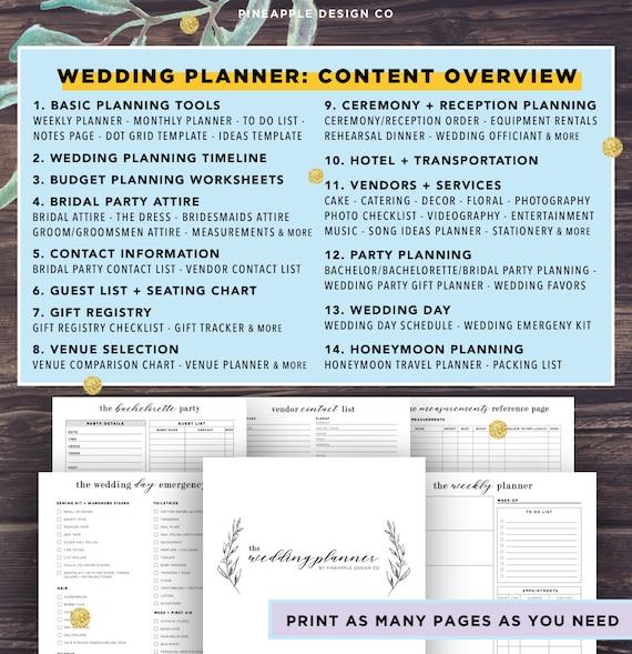 wedding planner printable wedding planning book printable etsy