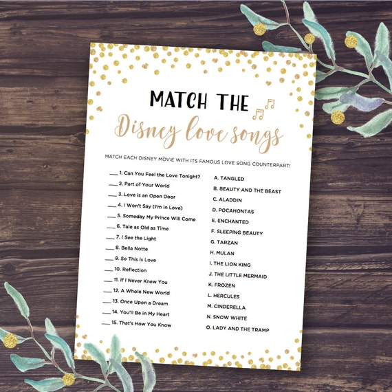 Video Game Wedding Ideas: Disney Bridal Shower Games Match The Disney Love Songs