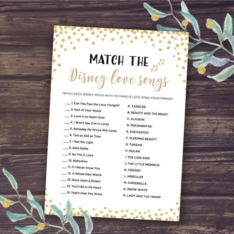 Disney Wedding Songs.Disney Bridal Shower Games Match The Disney Love Songs Game Instant Download Wedding Shower Romantic Quotes Bachelorette Party Gold