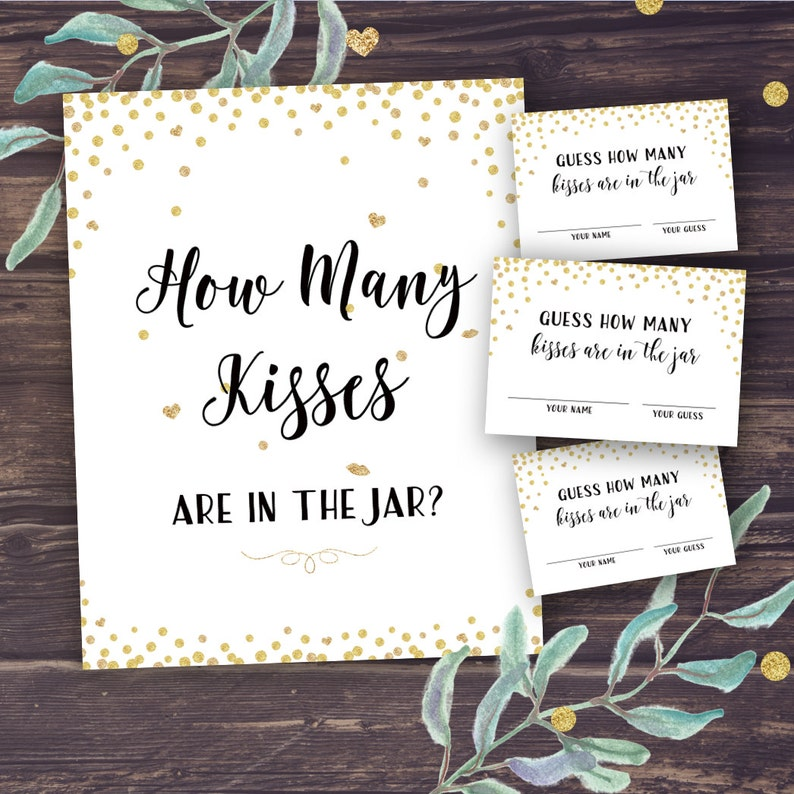 d800f12fdfe4 Guess How Many Kisses Bridal Shower Games Printable Gold