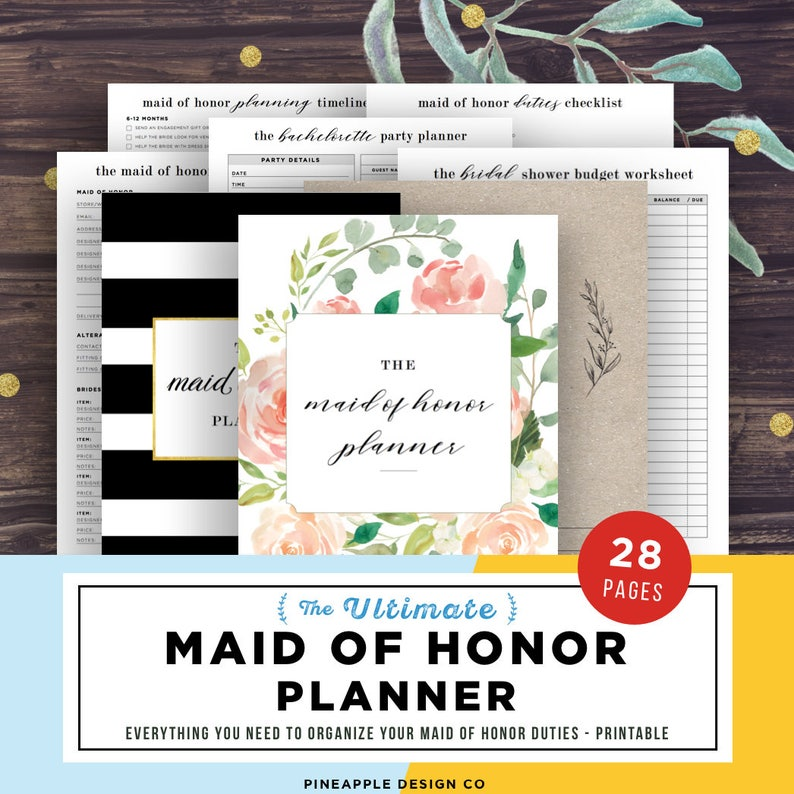 Maid of Honor Planner Wedding Planner Printable Maid of image 0