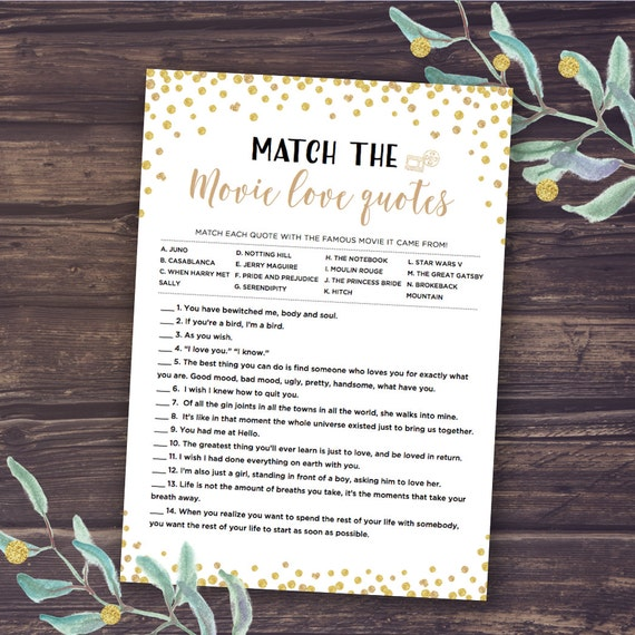 Gold Bridal Shower Games Match The Romantic Movie Love Quotes Etsy Best Famous Movie Love Quotes
