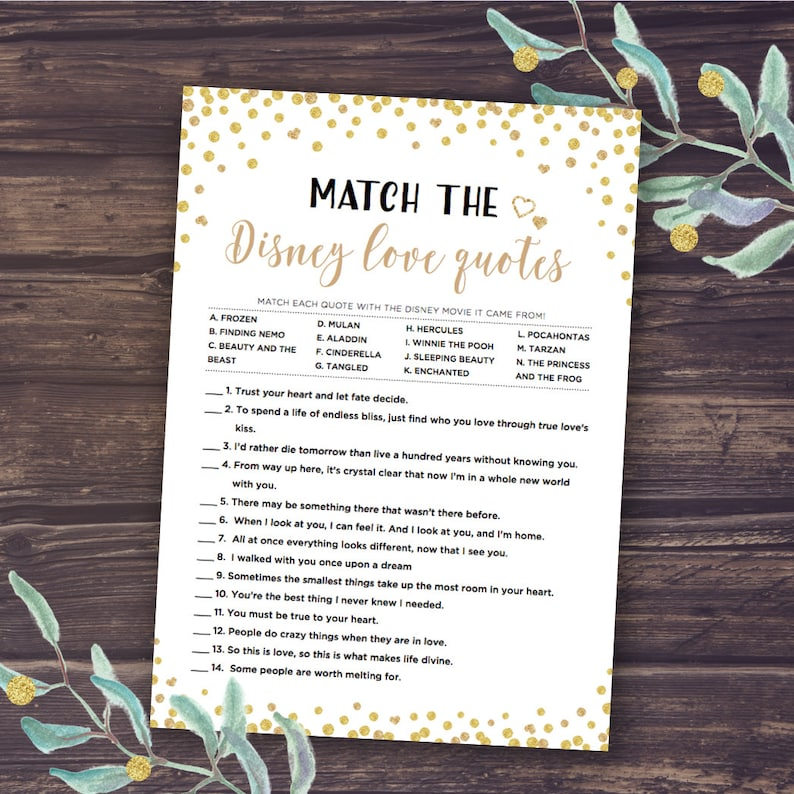 Disney Bridal Shower, Match the Love Quotes, Bridal Shower Games Printable,  Instant Download, Gold Confetti and Black Design, Famous Couple