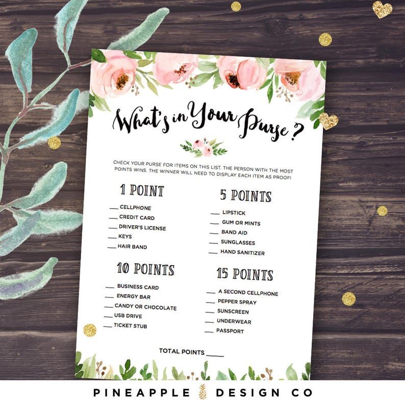 What S In Your Purse Game Bridal Shower Game Ideas Etsy