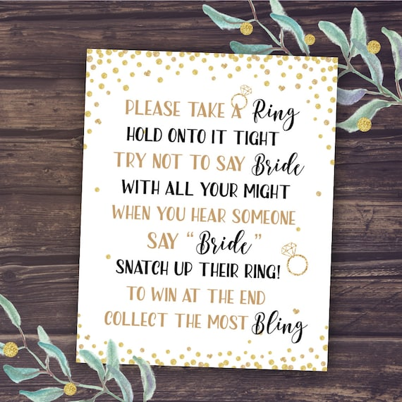Wedding Reception Games For Bride And Groom: Bridal Shower Game Don't Say Bride Wedding Shower Ring