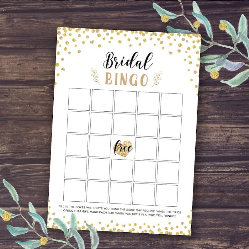 ab94c10cdb8b Bridal Bingo Game Bingo Cards Printable Gold Confetti