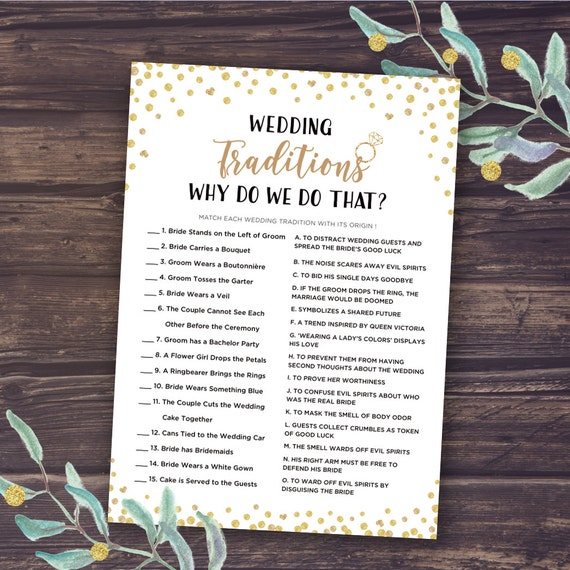 Why Do We Do That Game Wedding Traditions Guessing Game | Etsy
