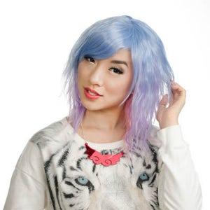 22/'/' Pony Tail Wig 12/'/' Face Frame 4/'/' Bangs Yukio Black Fade Lavender Purple