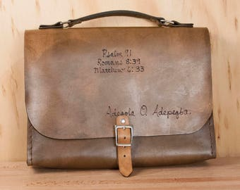 Custom Leather Bible Case - Personalized Bible Case with Name in Antique Brown - Third Anniversary, Wedding Gift, Baptism or Confirmation