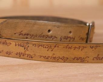 "Personalized Leather Mandolin Strap - .75"" wide - Handmade Mandolin or Ukulele Strap with Custom Inscription - Antique Brown"
