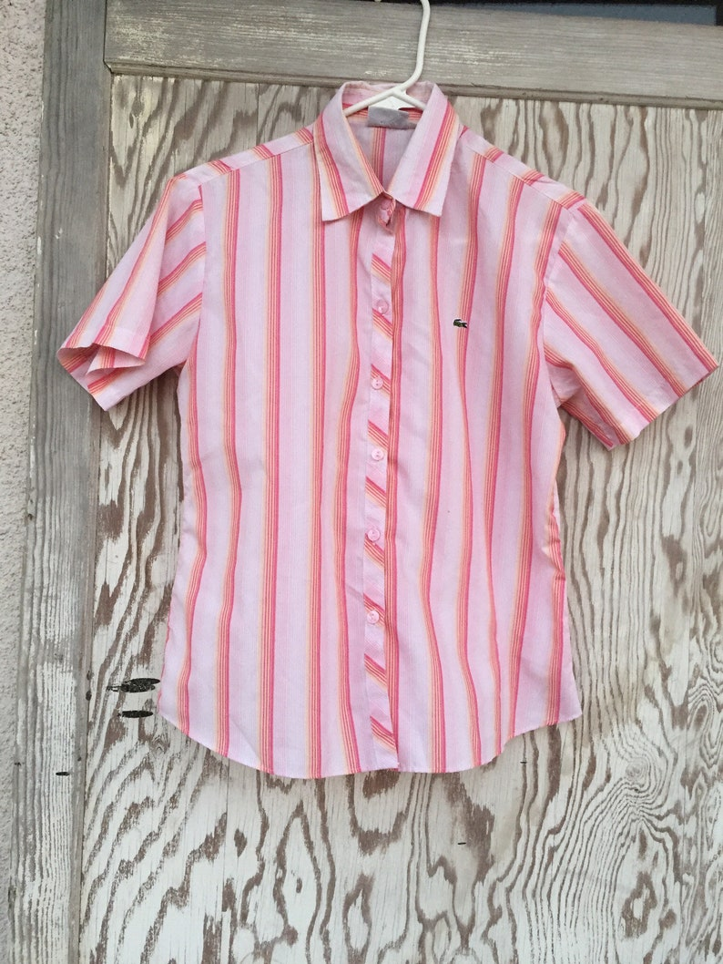 fed1aebc Lacoste pink Striped Button Down Short Sleeve Shirt / striped   Etsy