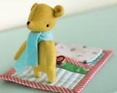 PDF Pattern - 'Goodnight Little Bear' - Felt Bear Softie with Fabric Sleeping Pouch - Instant Digital Download - Plush Child's Toy