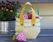 PDF Pattern - 'Bilberry Jam'  - Paper Basket with Fabric Strawberries  Softies  - Instant Digital Download - Plush Children's Toy