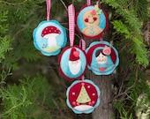 PDF Pattern - 'Sugarplum Medallions' -  Felt Christmas Decorations  - Instant Digital Download - Christmas Gift Idea