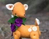 PDF Pattern - 'Violet'  -  Felt Deer Softie with Felt Violet Garland  - Instant Digital Download - Plush Children's Toy