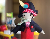 PDF Pattern - 'Clementine'  - Linen Pirate Doll Softie with Felt Clothing  - Instant Digital Download - Plush Children's Toy