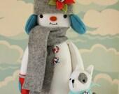 PDF Pattern - 'Yuri and Sasha' - Felt Snowman Softie with Felt Dog  - Instant Digital Download - Plush Children's Toy