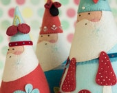 PDF Pattern - 'Jumbleberry Santas'  - Felt Father Christmas / Santa Babushka Softies  - Instant Digital Download - Plush Toy