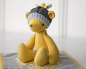 PDF Pattern - 'Bumble' - Felt Bear Softie with Honeycomb Mini Quilt and Knitted Beanie  - Instant Digital Download - Plush Teddy